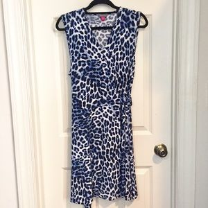 Vince Kamuto   Blue Leopard Wrap Dress XL